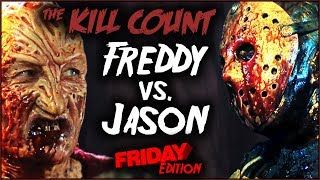 """All the kills in Freddy vs. Jason, broken down and analyzed! PATREON ► https://patreon.com/deadmeatjamesDead Meat on Social Media:Twitter ► https://twitter.com/deadmeatjamesInstagram ► http://instagram.com/deadmeatjamesFacebook ► https://www.facebook.com/deadmeatjamesJames A. Janisse on Social Media:Twitter ► https://twitter.com/jamesajanisseInstagram ► http://instagram.com/jamesajanissePractical Folks (James's other channel):https://www.youtube.com/practicalfolksMUSIC!!~~Logo/""""The Numbers""""~~""""U Make Me Feel"""" by MK2https://www.youtube.com/watch?v=qSET1PSw8Ic~~Introduction Section~~""""Darkest Child var A"""" by Kevin MacLeod (incompetech.com)Licensed under Creative Commons: By Attribution 3.0 Licensehttp://creativecommons.org/licenses/by/3.0/~~""""The Kills""""~~""""Slow Shock"""" by Silent Partnerhttps://www.youtube.com/watch?v=rKfWVymq5BQFreddy vs. Jason (2003) KILL COUNThttps://youtu.be/reVGZxviNgg"""