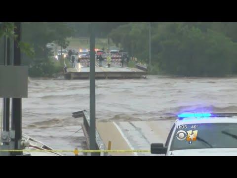 Raging Floods Destroy Bridge Over River Near Austin