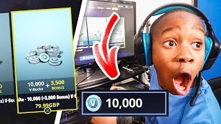 I bought my little brother 10,000 V Bucks in fortnite for his 10th birthday! (emotional)
