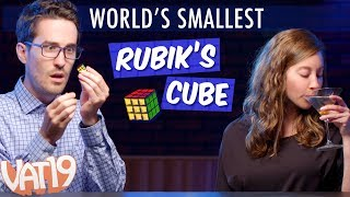 "Yes, you can actually solve (or try to solve!) this tiny Rubik's Cube. Measuring less than an inch, this fully functional puzzle is the World's Smallest Rubik's Cube.Buy here: https://www.vat19.com/item/worlds-smallest-rubiks-cube?adid=youtubeSubscribe to Vat19: http://www.youtube.com/subscription_center?add_user=vat19com******************Early Squad Giveaway!Click here to enter: https://gleam.io/NnTUL/early-squad-worlds-smallest-rubiks-cubeThis is just our way of saying ""Thanks!"" to our mega fans. ****************** Follow Vat19:Facebook: https://facebook.com/vat19Instagram: https://instagram.com/vat19/Twitter: https://twitter.com/vat19SnapChat: https://www.snapchat.com/add/vat19teamShop hundreds more curiously awesome products:https://www.vat19.com/?adid=youtubeThe biggest-name puzzle cube on the planet is now smaller than ever!The World's Smallest Rubik's Cube is a fully functional 3x3 cube that solves with the same algorithm as the regular-sized version. Carry all 43 quintillion permutations in your pocket, working through them on bus rides and other periods of downtime throughout your day.Even if you never plan on attempting the challenge, you can spin it in your hand to feel like a giant or use the cute conundrum as retro decoration. Watch More Vat19:Latest Uploads: https://www.youtube.com/user/vat19com/videos?shelf_id=1&view=0&sort=ddPopular Videos: https://www.youtube.com/user/vat19com/videos?shelf_id=7&view=0&sort=pThe Sample Room: https://www.youtube.com/watch?v=jL1JK0U6s28&list=PLSqiExuEA-RG_aF5u4q5gEvJiUfoa6l25Fun Stuff to Eat: https://www.youtube.com/watch?v=7RXmNRr8x7I&list=PLSqiExuEA-REt5gzR0A9ernZNHlZ2glIlAbout Vat19:Vat19 is dedicated to ""curiously awesome"" gifts, candy, toys, gummy, putty, puzzles, games, and more! In addition to making funny commercials you'll actually want to watch, we produce amazing challenge videos, document our outrageous contraptions, and invite you to a front row seat for our silly stunts. Sometimes we blow things up, fill up a bathtub or pool with crazy stuff, dare each other to eat super spicy foods, and answer ""burning questions"" from our viewers."