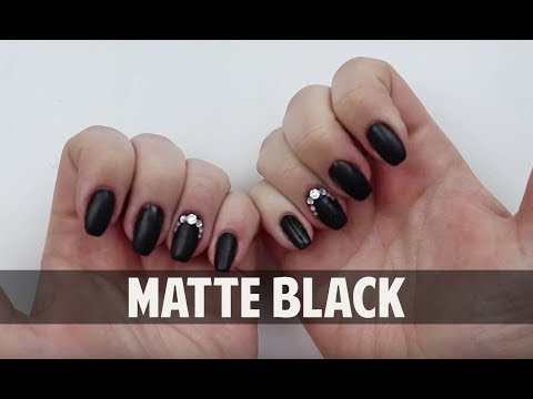 Gel nails - MATTE BLACK WITH SWAROVSKI CRYSTALS - Hard Gel Nail Tutorial