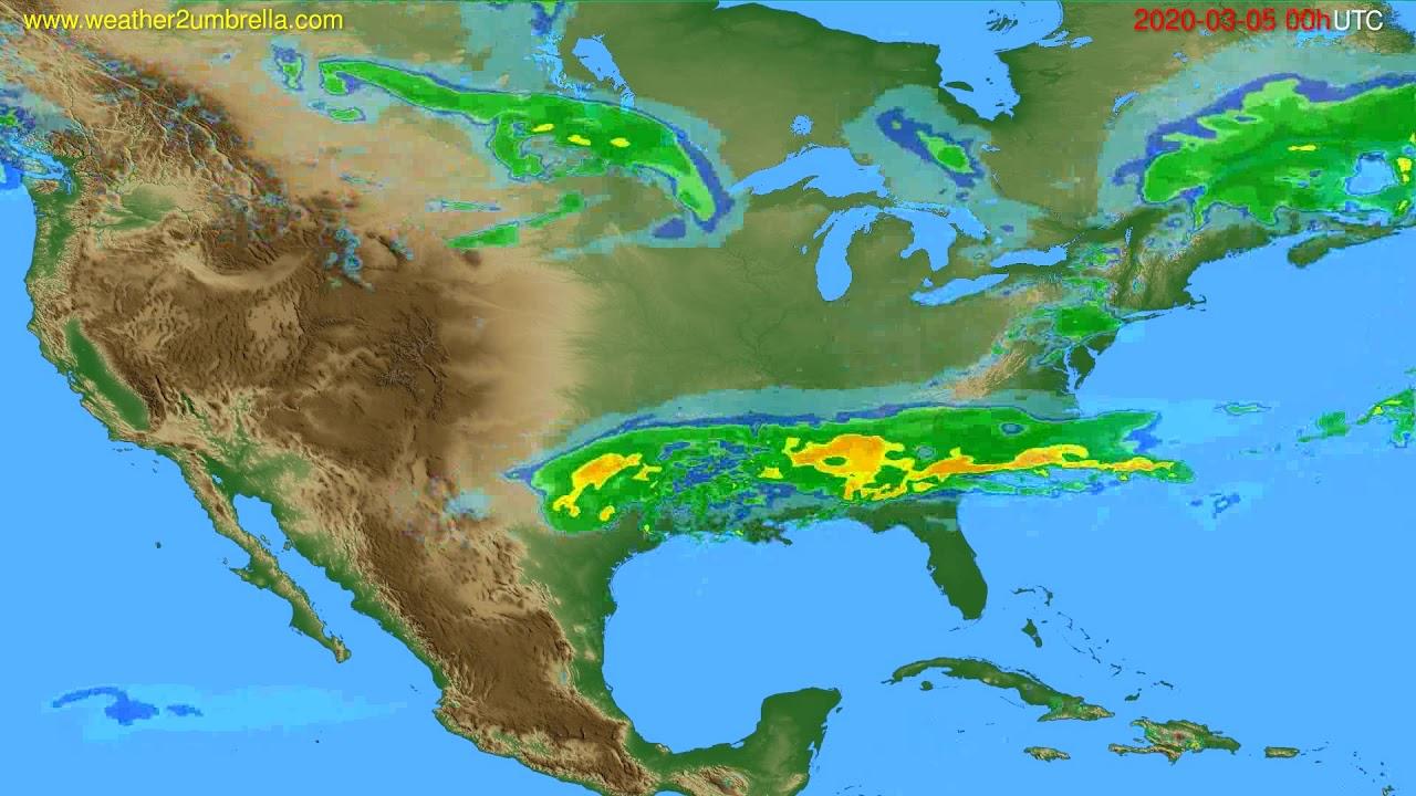 Radar forecast USA & Canada // modelrun: 12h UTC 2020-03-04