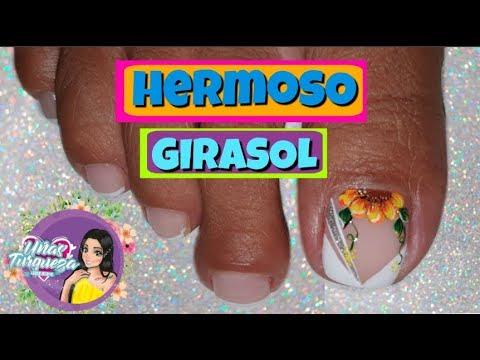 Decoracion de uñas - Uñas Turqueza/Decoracion uñas pies GIRASOL/Uñas con Girasol