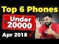 TOP 6 BEST MOBILE PHONES UNDER  ₹20000 (Apr 2018)