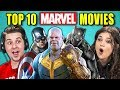COLLEGE KIDS REACT TO TOP 10 MARVEL MOVIES OF ALL TIME