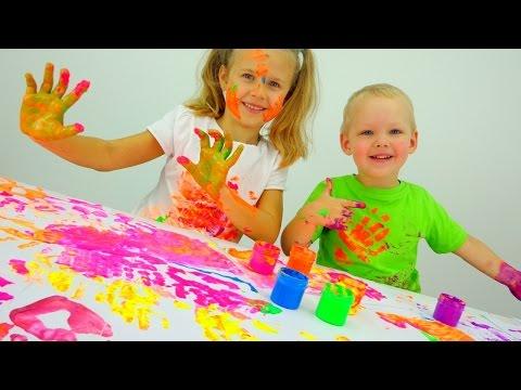 Играем вместе: пальчиковые краски. Детское творчество. (видео)
