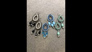 Join me on Facebook:http://www.facebook.com/BronzeponyBeadedJeweryMaterials:Lapis earrings:11/0 Seed Beads - Miyuki Lt. Smoky Pewter42 - 3mm Swarovski Pearls - Lapis32 - 3mm Bicones or Rondelles -  Blue OpalMiyuki Drop beads  Silver Plated6 - Firepolished Teardrop Beads (Aqua) or 11x8mm Swarovski Pear Pearls2 - Ear Wires - Sterling SilverSize 11 Beading NeedleWildfire Beading Thread or Fireline 6lb.Jade earrings:11/0 Seed Beads3mm Swarovski Jade Pearls3mm - Pacific Opal Swarovski Bicones11x8 Swarovski Pear PearlMiyuki Drops - SilverBlack earrings:11/0 Seed Beads3mm White Swarovski Pearls3mm Swarovski Bicones - Crystal Silver Night 10x5 Firepolished Drops JetMiyuki Drops SilverTierraCast Earwires - Grey