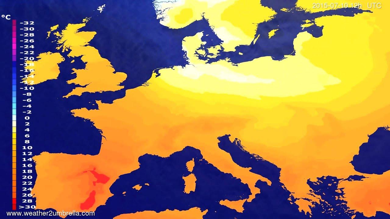 Temperature forecast Europe 2015-07-08