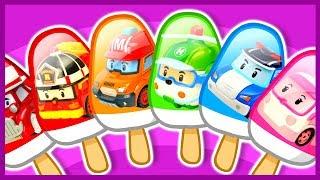 """Мороженное с персонажами мультфильма """"Поли Робокар"""" (Robocar Poli): полицейская машина Поли, пожарная машина Рой, скорая помощь Эмбер, вертолет Хелли. Спецтехника.Coloring. Robocar Poly cartoon. Police car, Firetruck, Ambulance, Helicopter."""