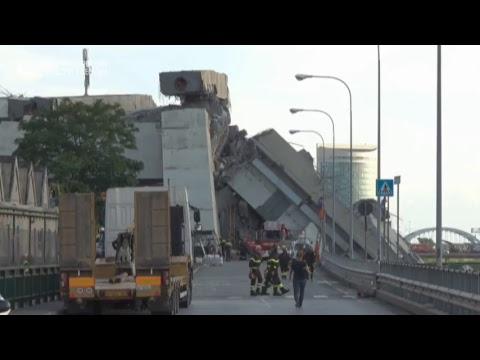 Ситуация на месте обрушения моста в Италии онлайн видео