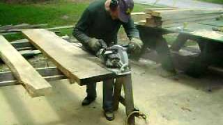 Cutting a thick slab with the Big Foot Saw