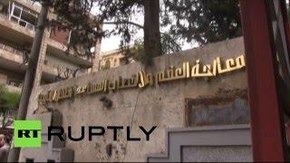 Последствия ракетного обстрела госпиталя в сирийском Алеппо