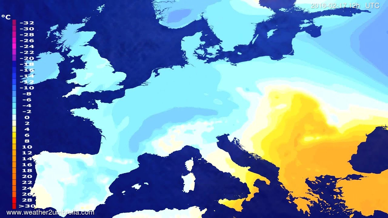 Temperature forecast Europe 2016-02-15