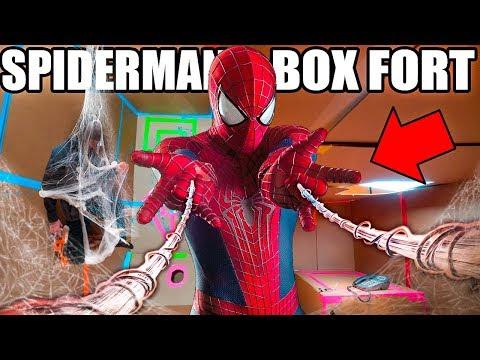 SPIDER MAN BOX FORT BASE!!  Spiderman Adventure, Nerf, Gadgets & More!