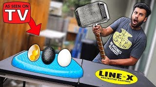 I Bought A PILLOW That Makes Any Egg UNBREAKABLE!! (LINE-X EGG EXPERIMENT)