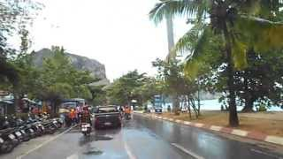 Ao Nang Krabi Thailand During Songkran Thai New Year From A Motorcycle. Motor Scooters In Thailand