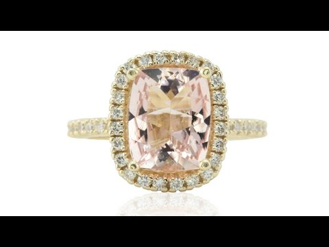 Halo Engagement Ring with Cushion Morganite and Infinity Motif LS4719