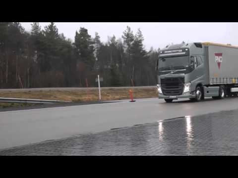 volvo - On a test track in the new Volvo FH, together with test drivers you get to experience how the Collision Warning with Emergency Brake system can avoid a rear ...