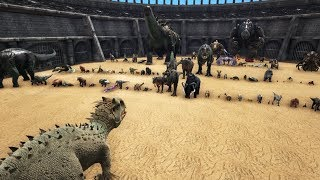 Indominus Rex vs all Creatures in ARK: Survival Evolved || Cantex