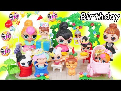 LOL Surprise Dolls + Lil Sisters Spice's Birthday Party with Wave 2 Pets - Morning Routine Toy Video