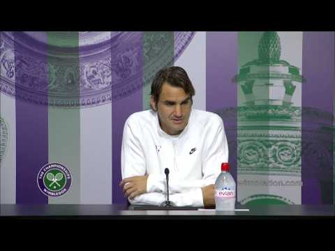 Roger Federer talks to the media following his First Round match at Wimbledon 2014