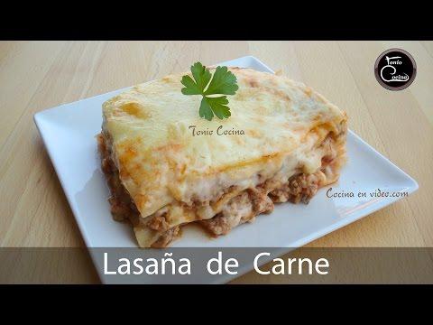 Lasaña de carne casera - Home meat lasagne, #168 - Cocina en video.com