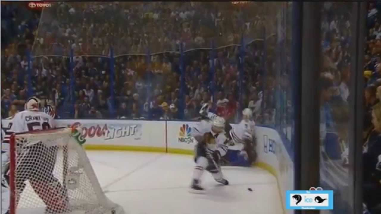 Brent Seabrook Hit on David Backes w/ Super Slow Motion NHL Playoffs 2014