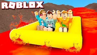 """In today's Roblox Adventure, Denis and Corl slide down a 9999ft lava river in their very own rafts!► Subscribe for more! -- http://bit.ly/ThePalsSubscribe► Follow us on Twitter! -- https://twitter.com/SubZeroExtabyteJoin us in our Roblox Adventures as we play through various Roblox Gamemodes from Roblox High School, Roblox Apocalypse, Roblox Prison, Roblox Dating and more! Make sure to subscribe for me Roblox Adventures!▶ MORE VIDEOS!Roblox Adventures -- http://bit.ly/ThePalsAdventuresBest of The Pals -- http://bit.ly/BestOfThePalsMost Recent -- http://bit.ly/PalsMostRecent▶ CHECK OUT THE PALS!Denis -- http://youtube.com/denisdailyCorl -- http://youtube.com/corlAlex -- http://youtube.com/alexcraftedSketch -- http://youtube.com/SketchRobloxMoreSub -- http://youtube.com/SubRobloxMoreWhat is ROBLOX? ROBLOX is an online virtual playground and workshop, where kids of all ages can safely interact, create, have fun, and learn. It's unique in that practically everything on ROBLOX is designed and constructed by members of the community. ROBLOX is designed for 8 to 18 year olds, but it is open to people of all ages. Each player starts by choosing an avatar and giving it an identity. They can then explore ROBLOX — interacting with others by chatting, playing games, or collaborating on creative projects. Each player is also given their own piece of undeveloped real estate along with a virtual toolbox with which to design and build anything — be it a navigable skyscraper, a working helicopter, a giant pinball machine, a multiplayer """"Capture the Flag"""" game or some other, yet-to-be-dreamed-up creation. There is no cost for this first plot of virtual land. By participating and by building cool stuff, ROBLOX members can earn specialty badges as well as ROBLOX dollars (""""ROBUX""""). In turn, they can shop the online catalog to purchase avatar clothing and accessories as well as premium building materials, interactive components, and working mechanisms.► Music Credits:Kevin MacLeod (incom"""