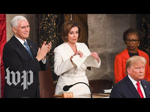 Nancy Pelosi rips up Donald Trump&#8217s State of the Union address.
