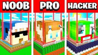 NOOB vs PRO vs HACKER MINECRAFT HOUSE BATTLE! (Build Challenge with UNSPEAKABLE, MOOSE, SHARK)