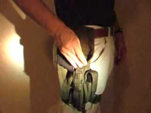 Demonstrating Blackhawk Special Operations pistol holster