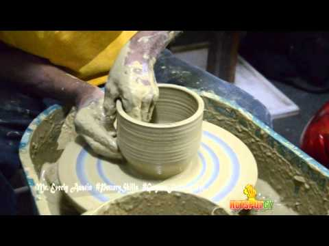 Mr. Everly Austin displays his pottery Skills at Guyana Festival 2014