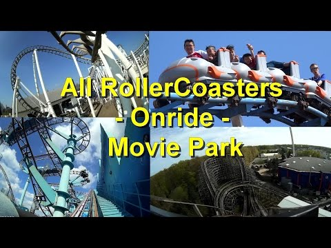 All Rollercoasters Onride - Movie Park Germany - Alle Achterbahnen Onride Bandit Mp Xpress