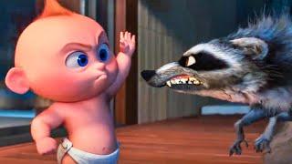 INCREDIBLES 2 - Baby Jack Jack vs Raccoon Fight Scene (2018) Movie Clip