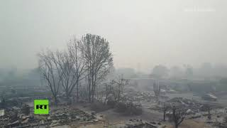 Dron capta la destrucción causada por el incendio en California
