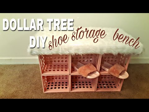 dollar tree diy shoe storage faux fur bench