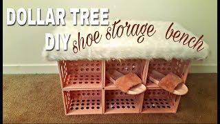 DOLLAR TREE DIY: SHOE STORAGE FAUX FUR BENCH🍥💐🐩