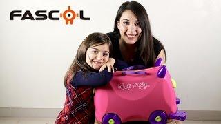 Valigia cavalcabile Fascol gioco per bambini apertura e prova