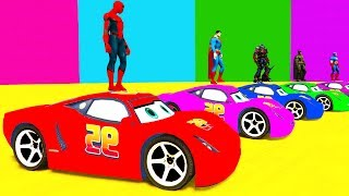 Video LEARN COLORS McQueen for Children and Spiderman - Cars 3D Bus Superheroes for Kids MP3, 3GP, MP4, WEBM, AVI, FLV Juli 2017
