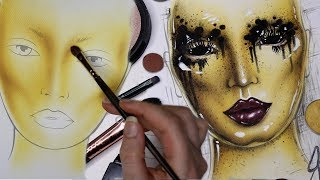 """Welcome to my Alien style Queen Bee Face Chart Drawing & Painting time lapse! Hope you enjoyed the oddly satisfying feeling of art coming together on paper instead of my body! Using just makeup and brushes I create the an avant garde take on an alien queen bee of her colony, full with some creepy eyes and pouty ass lips in facechart form!If you enjoyed watching this all come together, please like, subscribe, and share with your friends! It means the world to me! :)FOLLOW ME:Instagram: @jordanhanzhttp://www.instagram.com/jordanhanzTwitter: @jordanhanzhttp://www.twitter.com/jordanhanzSnapchat: jordan_hanzFacebook: Jordan Hanzhttps://www.facebook.com/pages/Jordan-Hanz/295184987353909?fref=tsTwitch TV: Jordanhanzhttp://www.twitch.tv/jordanhanzPeriscope: @jordanhanz (for LIVE streaming)________________________________________//PRODUCTS USED:(COMING SOON!)CODES/LINKS:// MAKEUP GEEK COSMETICShttps://www.makeupgeek.com/store/eye-products/eyeshadows/makeup-geek-eyeshadows.html?acc=7f100b7b36092fb9b06dfb4fac360931// MORPHE BRUSHESUse code """"JORDANHANZ"""" for 10% off site wide!http://www.morphebrushes.com// SIGMA BEAUTYUSE code """"JORDANHANZ"""" for 10% off site wide!http://sigma-beauty.7eer.net/c/134412/146780/2835?u=http%3A%2F%2Fwww.sigmabeauty.com%2Fe20-short-shader%2Fp%2FE20PARNT// GERARD COSMETICSUse code """"Jordan"""" for 25% off site wide!http://www.gerardcosmetics.com//NUBOUNSOM 3D RUSSIAN (LASHES)Use code """"jordanhanz: for 20% off site wide!http://nubounsom.com// MUSIC  SOUNDS:provided by Monstercat: a paid monthly no copyrights song servicehttp://www.monstercat.comFirst Song: We Are The Lights - Varien & Mr FijiWijiSecond song: Andromeda (feat. Matt Van)Mr Fijiwiji & Exist StragedyFTC: Some of these links are affiliate links which I make a small commission percentage through. You don't have to use these links, but if you would like to support me in that way you're welcome to! I only promote products that I one hundred percent believe in and adore, I got chu guys. ;)"""