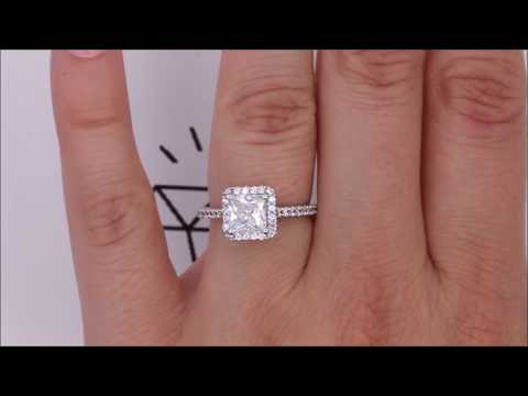 Princess Cut Forever One Moissanite and Diamond Halo Engagement Ring - Prima