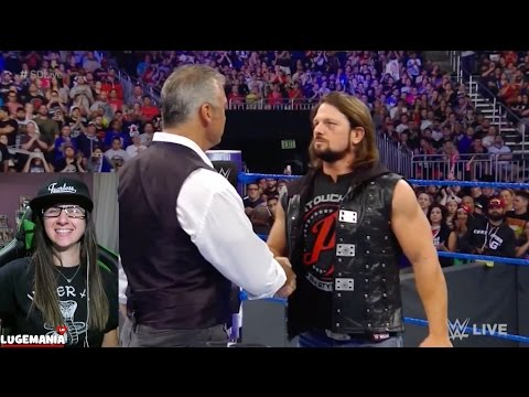 WWE Smackdown 4/4/17 AJ Styles confronts Shane after Wrestlemania