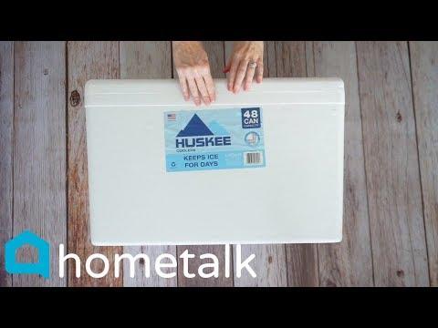 DIY Storage Ottoman - Grab a styrofoam cooler for this brilliant trick!  Hometalk