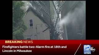 Firefighters were called Monday to a house fire on the city's south side that was quickly elevated to two alarms.Subscribe to WISN on YouTube for more: http://bit.ly/1emE5YXGet more Milwaukee news: http://www.wisn.com/Like us: http://www.facebook.com/wisn12Follow us: http://twitter.com/WISN12News