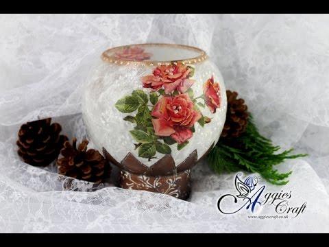 decoupage - decorazione su vetro con carta di riso