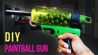 Easy to make homemade Paintball GunThis paintball gun works by igniting a mixture of hairspray and air inside of a closed container and the small explosion produced forces the paintball down and out the barrel, Its basically like a mini potato gun.Song: Distrion & Alex Skrindo - Lightning [NCS Release]Music provided by NoCopyrightSounds.Watch: https://youtu.be/dM2hrLwdaoUDownload/Stream: http://ncs.io/LightningYO