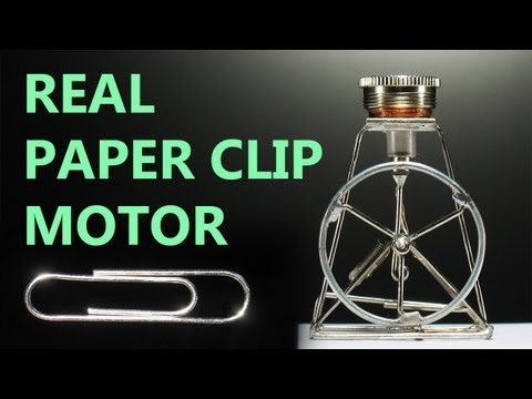 paper clip - Miniature motor made of paper clips. Tags: paper clip motor, simple motor, mini, micro.