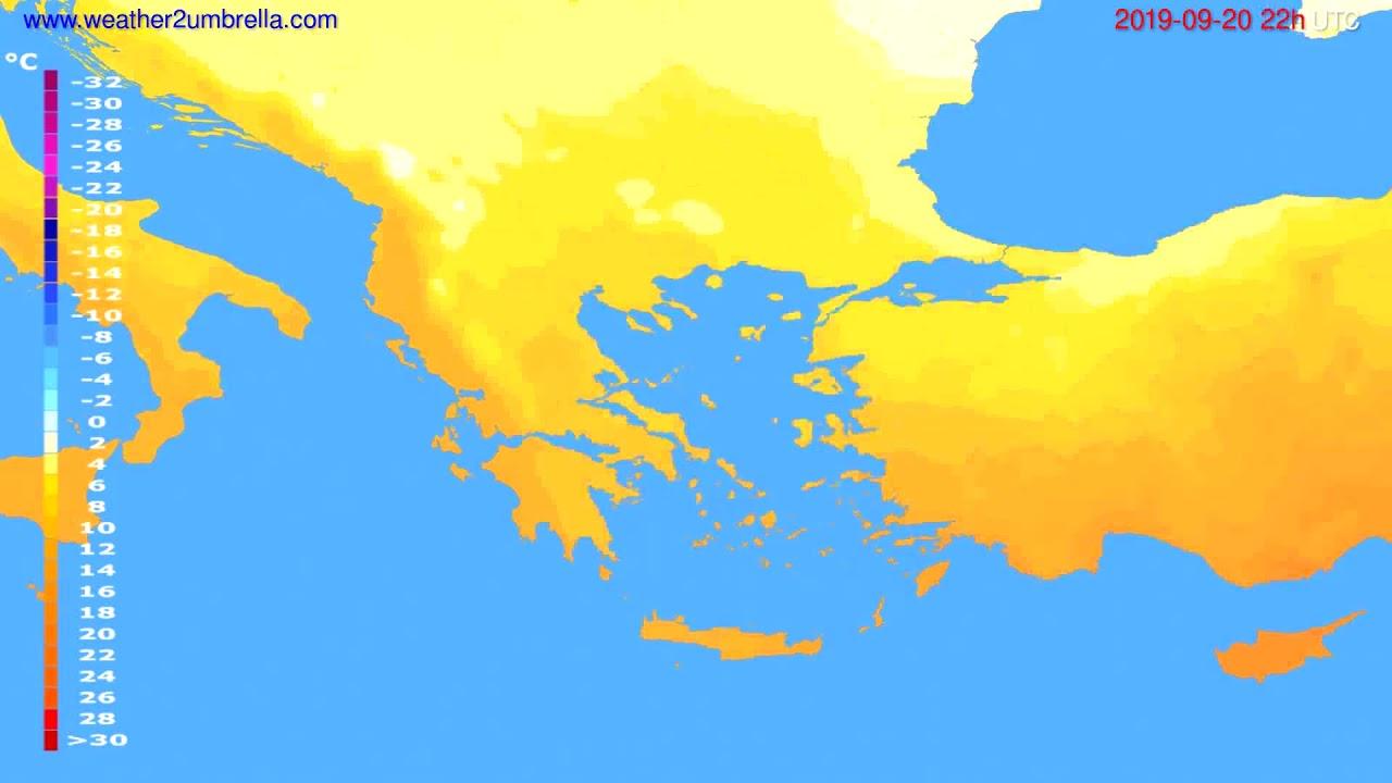 Temperature forecast Greece // modelrun: 12h UTC 2019-09-18
