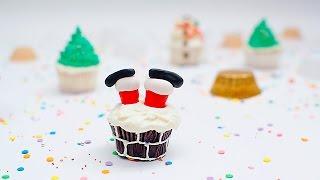 Cupcakes con piernas de Santa