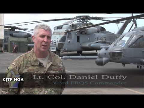 A group of Marine Aviators are passing the stick to Airmen in the Horn of Africa. Tech. Sergeant Jon LaDue has the story of a mission that must go on. Soundbites include MAJ. Stuart Howell - HMH 424, Det. A. Officer in Charge, Lt. Col. Daniel Duffy - 303rd ERQS Commander and CMSgt. Michael Diltore - 303rd ERQS Superintendent.